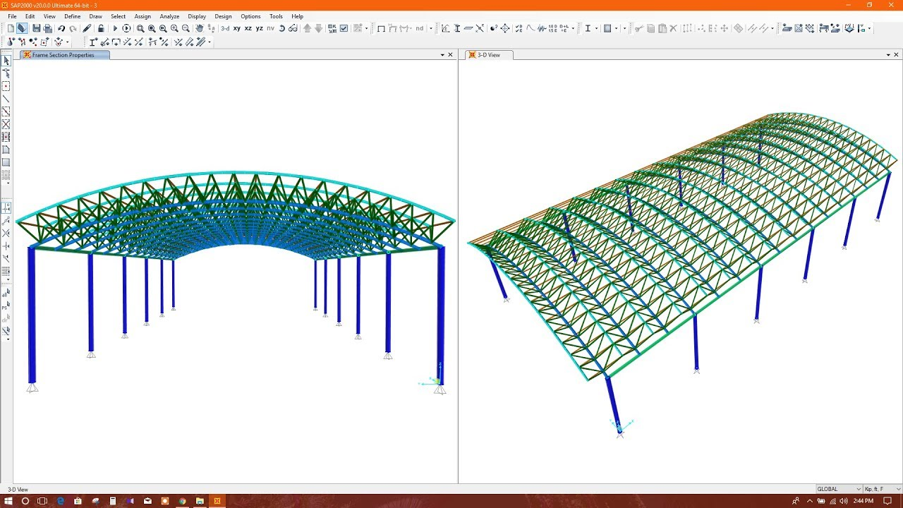 Curved roof truss barrel roof truss modeling in sap2000 for Barrel roof trusses