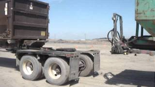 Ace B-Train Roll Off Trailer Sliding Suspension Hooking Up To Rear Trailer
