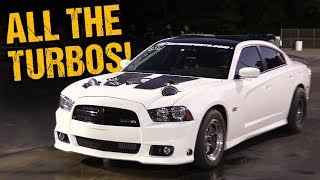 Charger Has Turbos Sticking Out of the Hood! SEDAN LAYS IT DOWN!