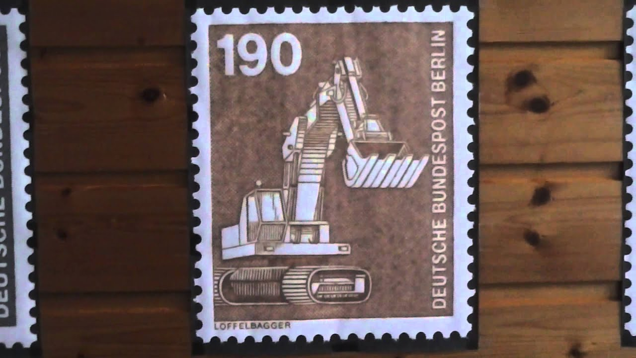 Löffelbagger 190 Pfennig Briefmarke Der Deutschen Bundespost