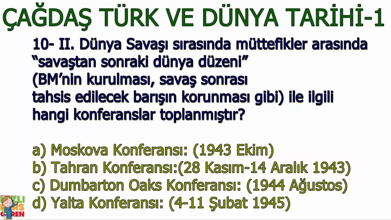 çağdaş Türk Ve Dünya Tarihi 1 Ayt Youtube