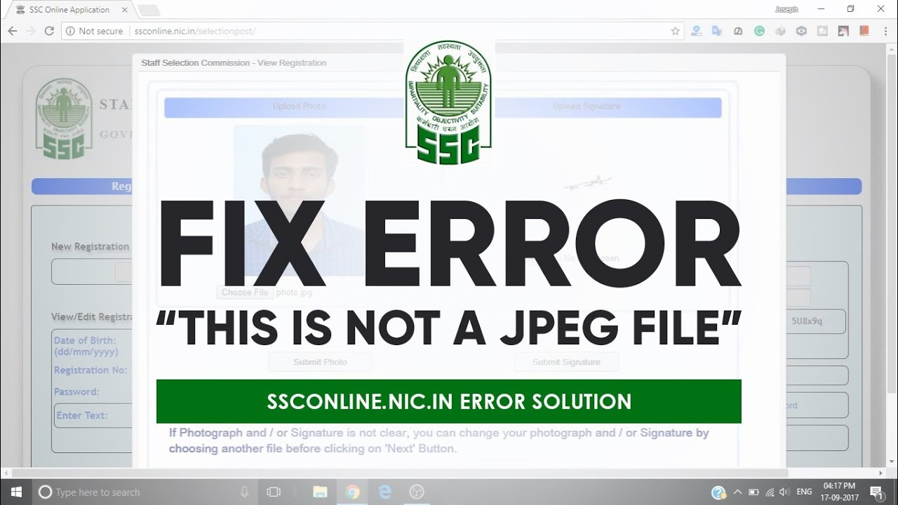 How to fix `This is not a jpeg file` error in ssconline nic in by Joseph V M