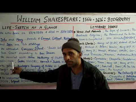 TGT/ PGT/ UGC- William Shakespeare- Biography: Shivam Dubey at English Kingdom, Allahabad 9369542072