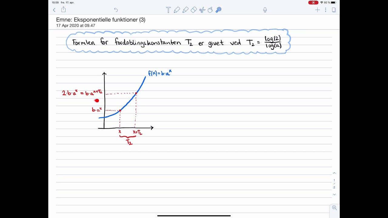 Matematik C og B-niveau Eksamen: Eksponentielle funktioner: Fordoblingskonstanten