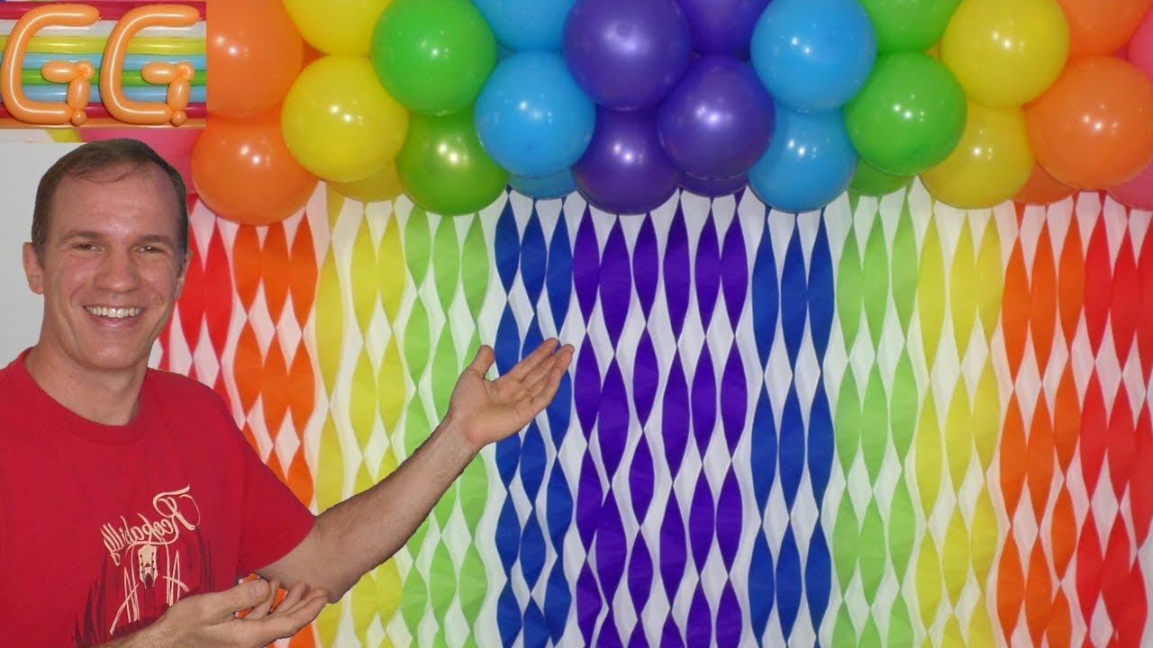 como hacer cortinas de papel crepe decoracion con globos decoracion con papel crepe YouTube
