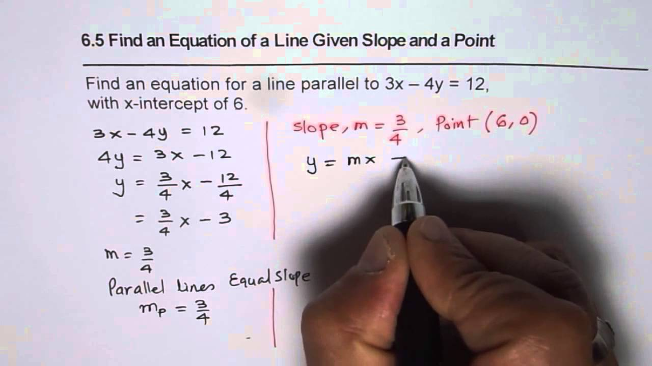 Find equation of line parallel to given line with x intercept find equation of line parallel to given line with x intercept youtube falaconquin