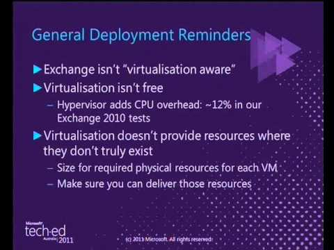Tech·Ed Australia 2011 Exchange Virtualisation   Is it right for you