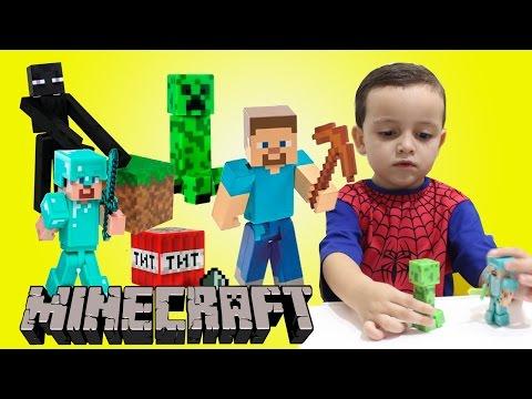MINECRAFT Steve Creeper Enderman Bonecos Armadura de Diamante Toys Brinquedos Infantil