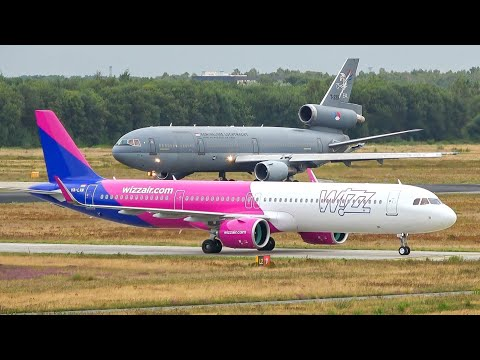 (4K) Plane spotting at Eindhoven airport   Beautiful take-offs (A330, KDC-10, C-130, etc.)
