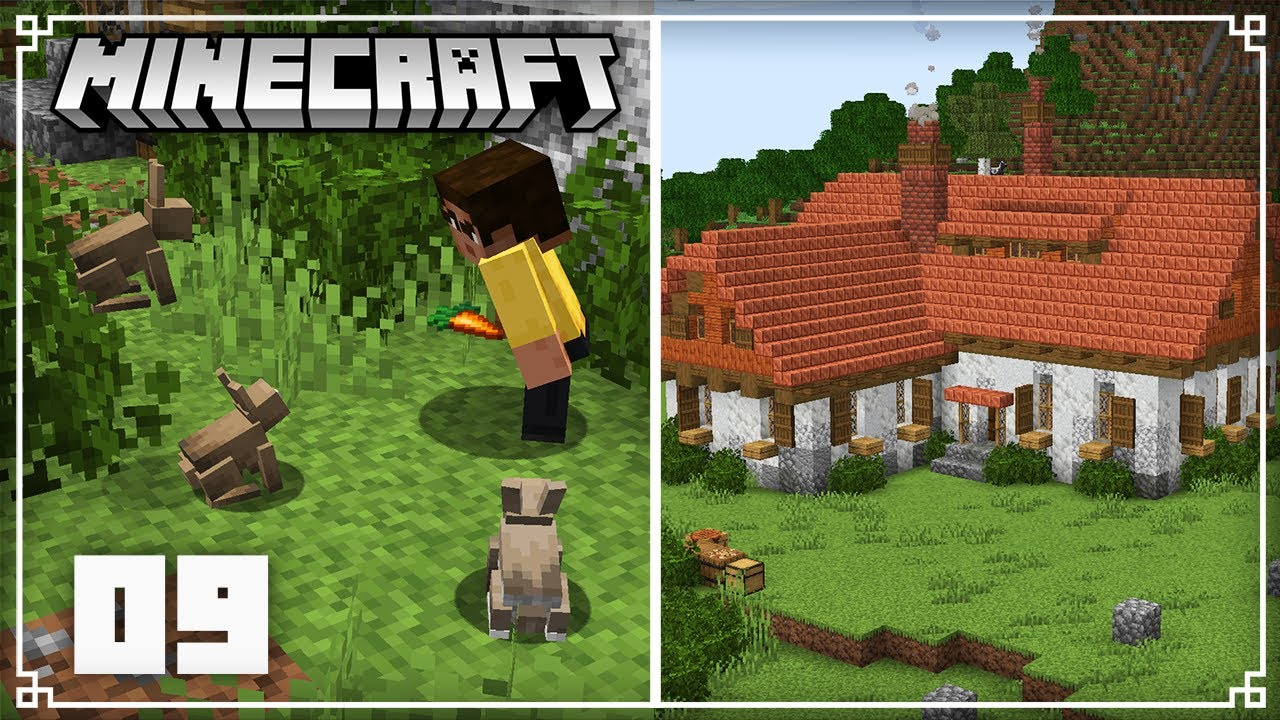 Building a Rabbit farm!   Minecraft 1.17 Survival Lets Play