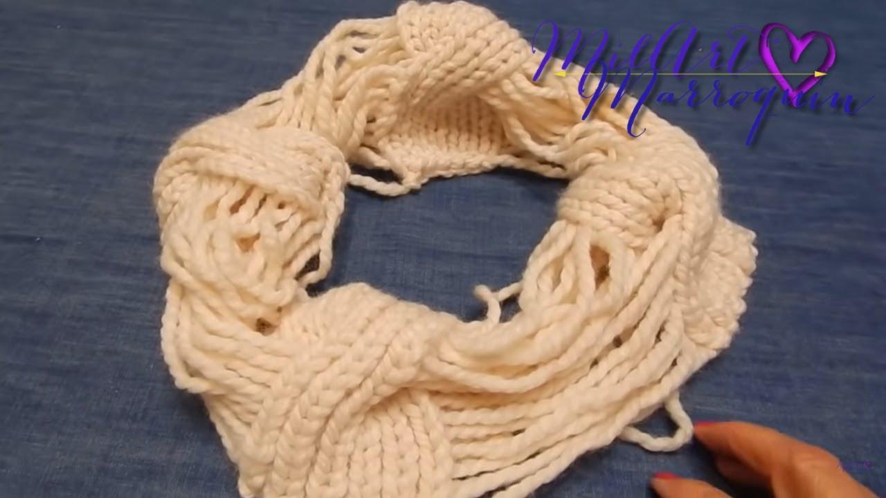 Cuello de hilos 2 agujas youtube - Puntos de lana a dos agujas ...
