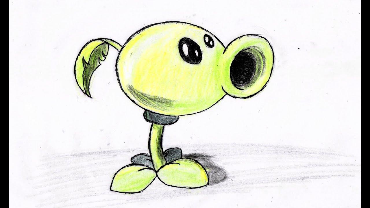 como dibujar planta lanza guisantes paso a paso (plants vs zombies ...