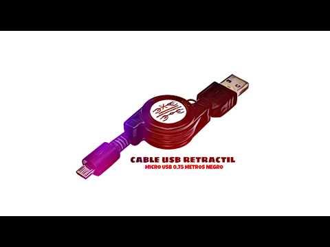 Video de Cable usb retractil micro USB 0.75 M Negro