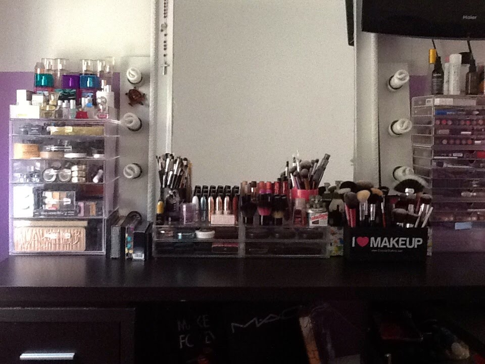 Makeup Vanity Desk Tour Storage Organization Setup 2017 Updated Kay S Ways You
