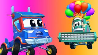 Truck cartoons for kids -  ASTRONAUT HARVESTER heads to space! - Super Truck in Car City !