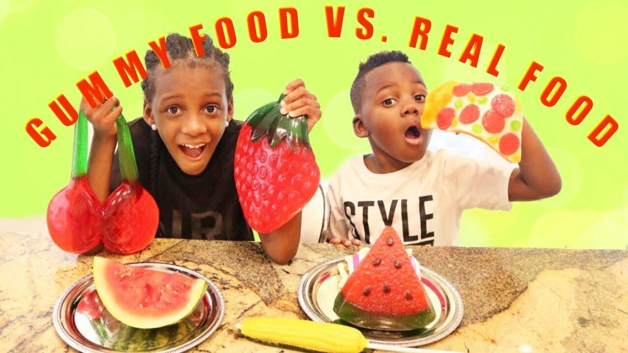 Gummy Food Vs Real Food Challenge Youtube