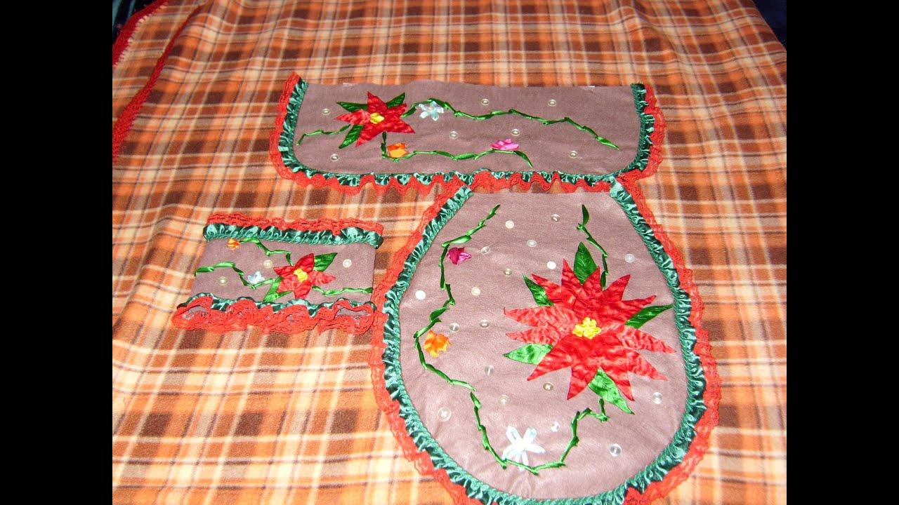 Juegos De Baño De Navideno Paso A Paso:DIY Juego de baño bordado en listón para esta Navidad 2 de 4