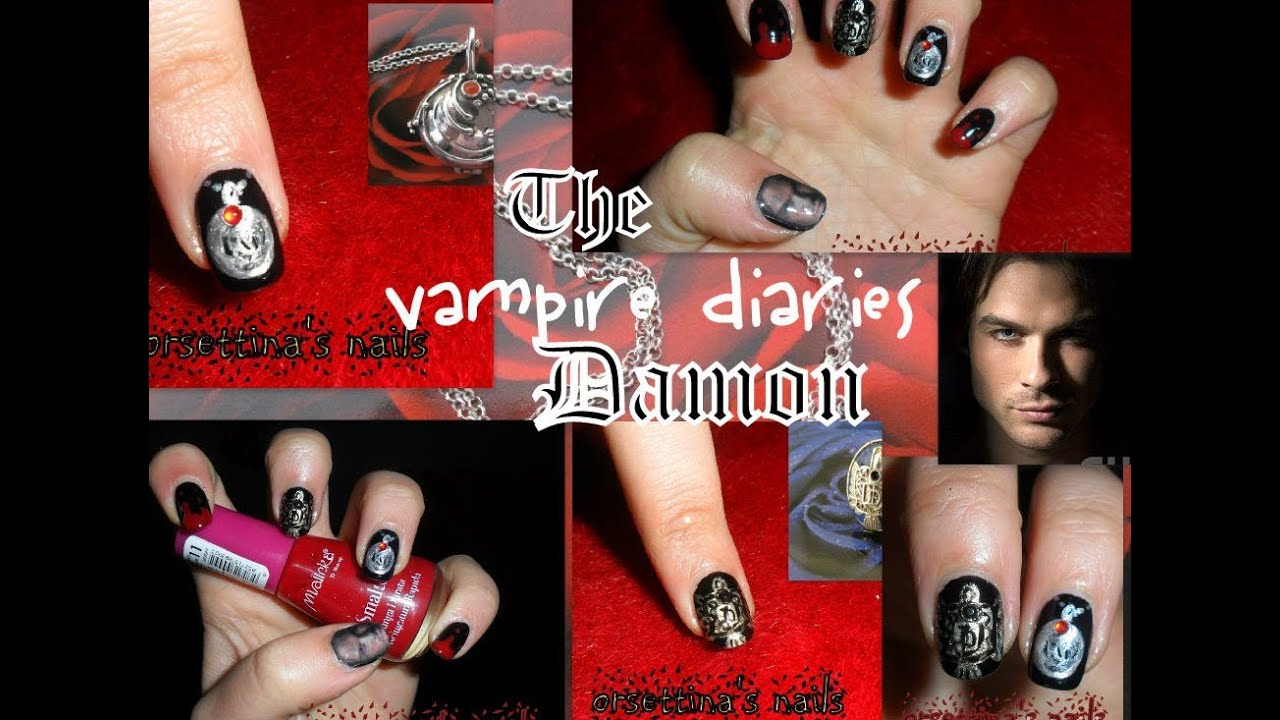 The Vampire Diaries nail art tutorial - Damon Salvatore(Ian