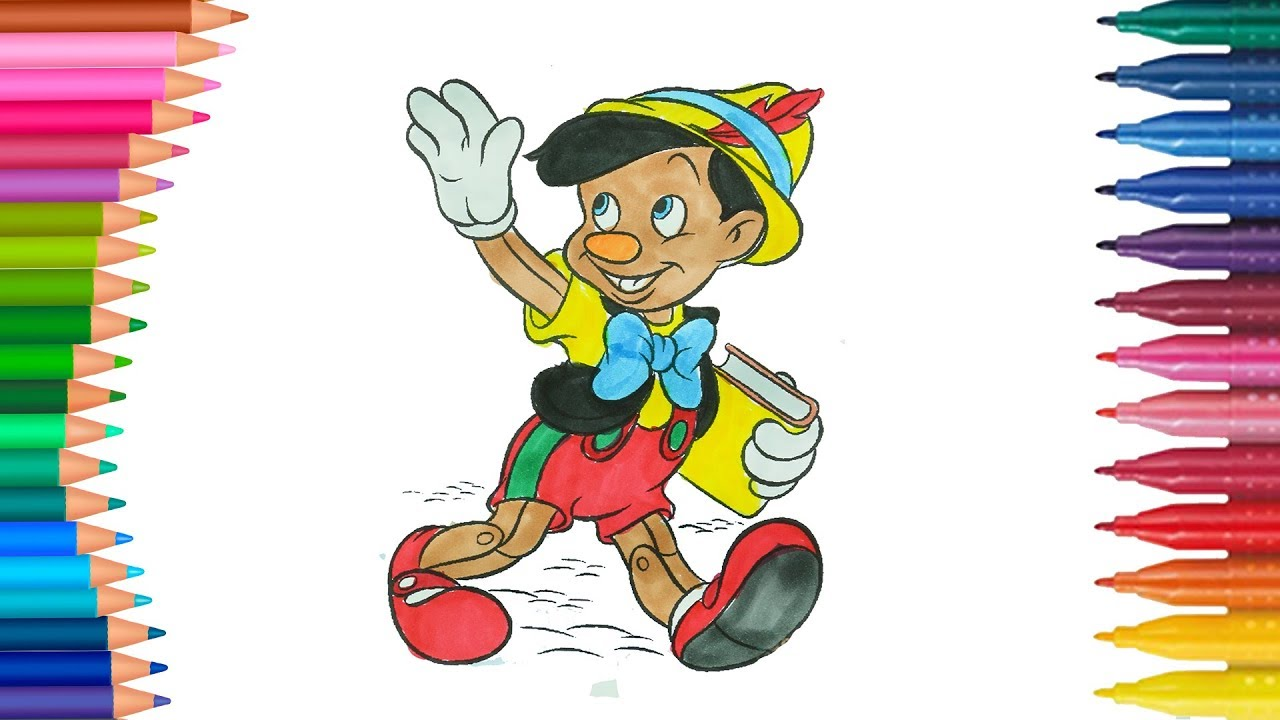 Pinokyo çocuklar Için Boyama Sayfası Boyama Ve Renkleri