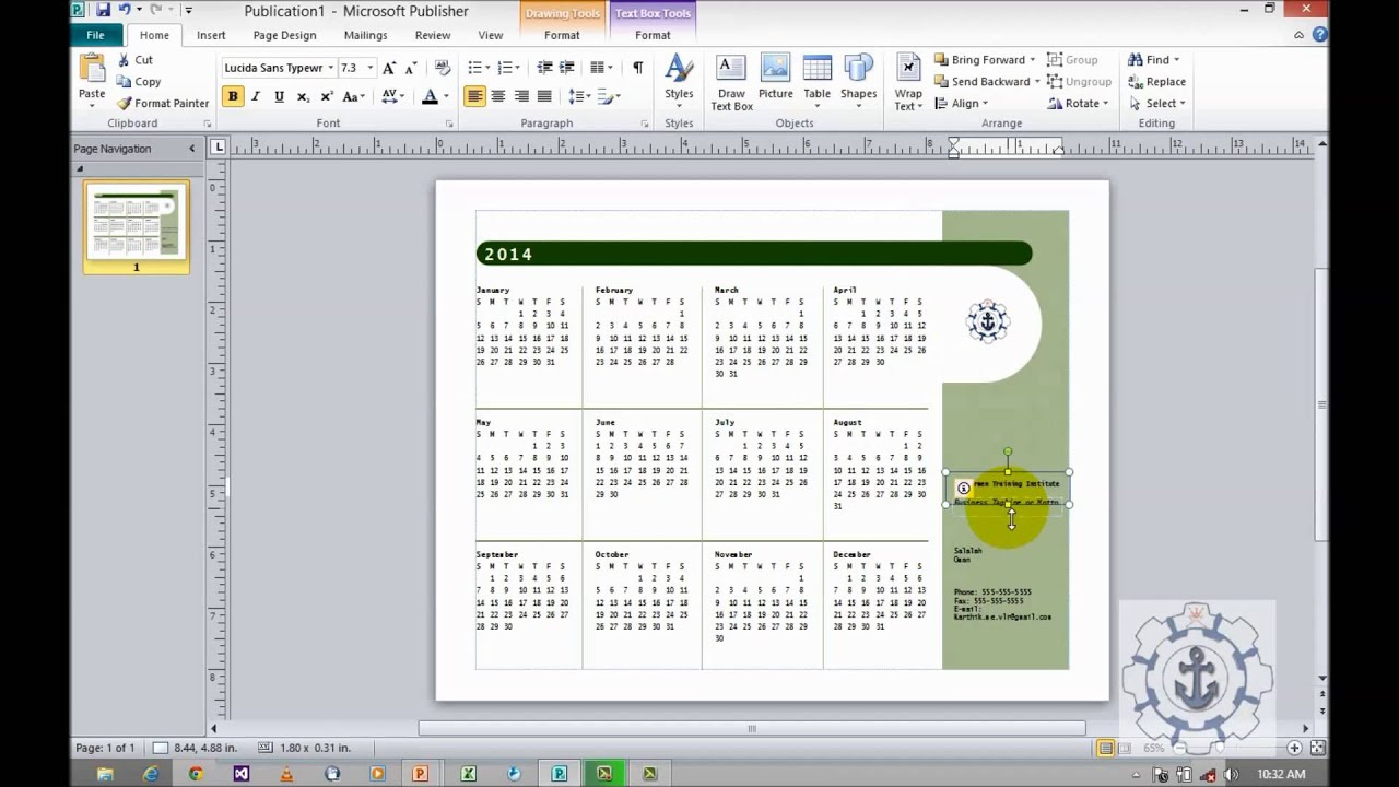 microsoft publisher calendar template