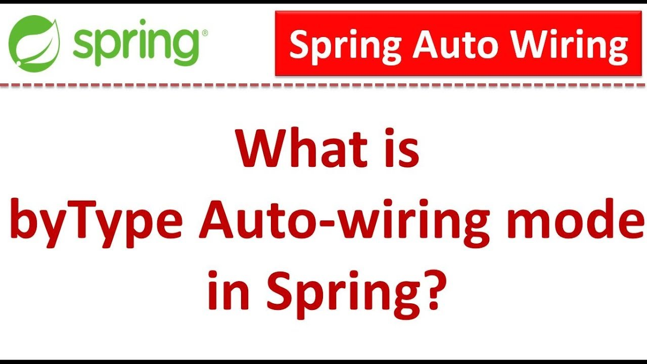What Is Bytype Auto Wiring Mode In Spring Tutorial Youtube Bean
