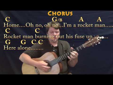 Rocket Man (Elton John) Strum Guitar Cover Lesson with Chords/Lyrics - Capo 3rd