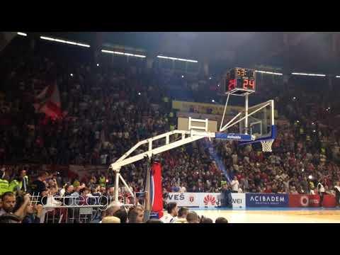 GRMI PIONIR!!! Delije - Nadglašavanje himne Evrolige | Crvena zvezda - Barselona 90:82