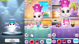 My Talking Angela BABY VS  KID VS ADULT SIZE / LEVEL 4 Vs LEVEL 16 Vs LEVEL 150 Gameplay