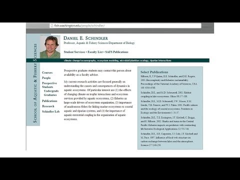 Daniel Schindler   School of Aquatic and Fishery Science at UBCO March 20th 2014
