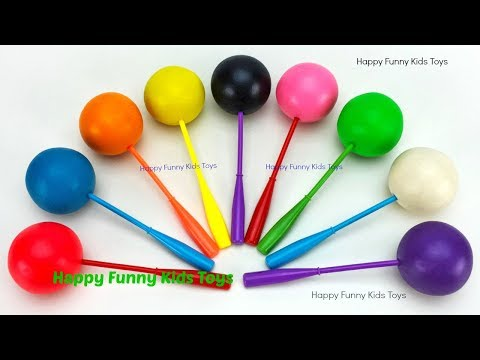 Learn Colors with Play Doh Lollipop and Cookie Molds, Surprise Toys Fun for Kids