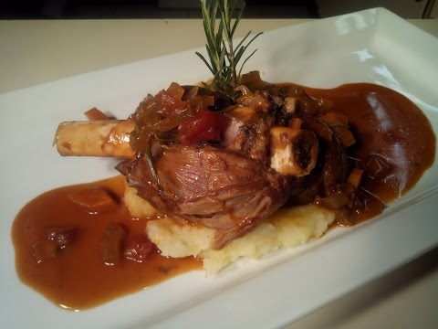 Lamb Shank With Red Wine And Rosemary Sauce
