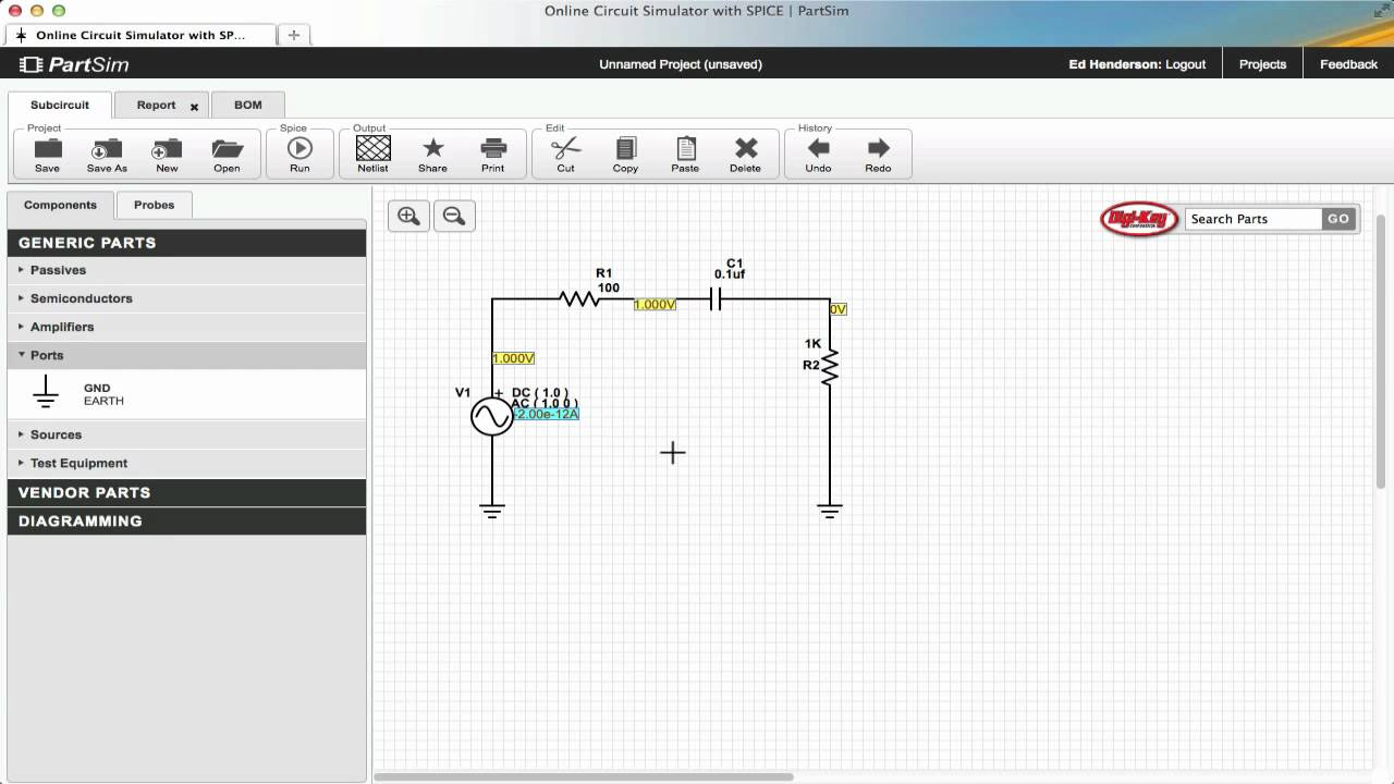 Basic Circuit And Simulation Partsim Tutorial Youtube Circuitlab Led With A Capacitor