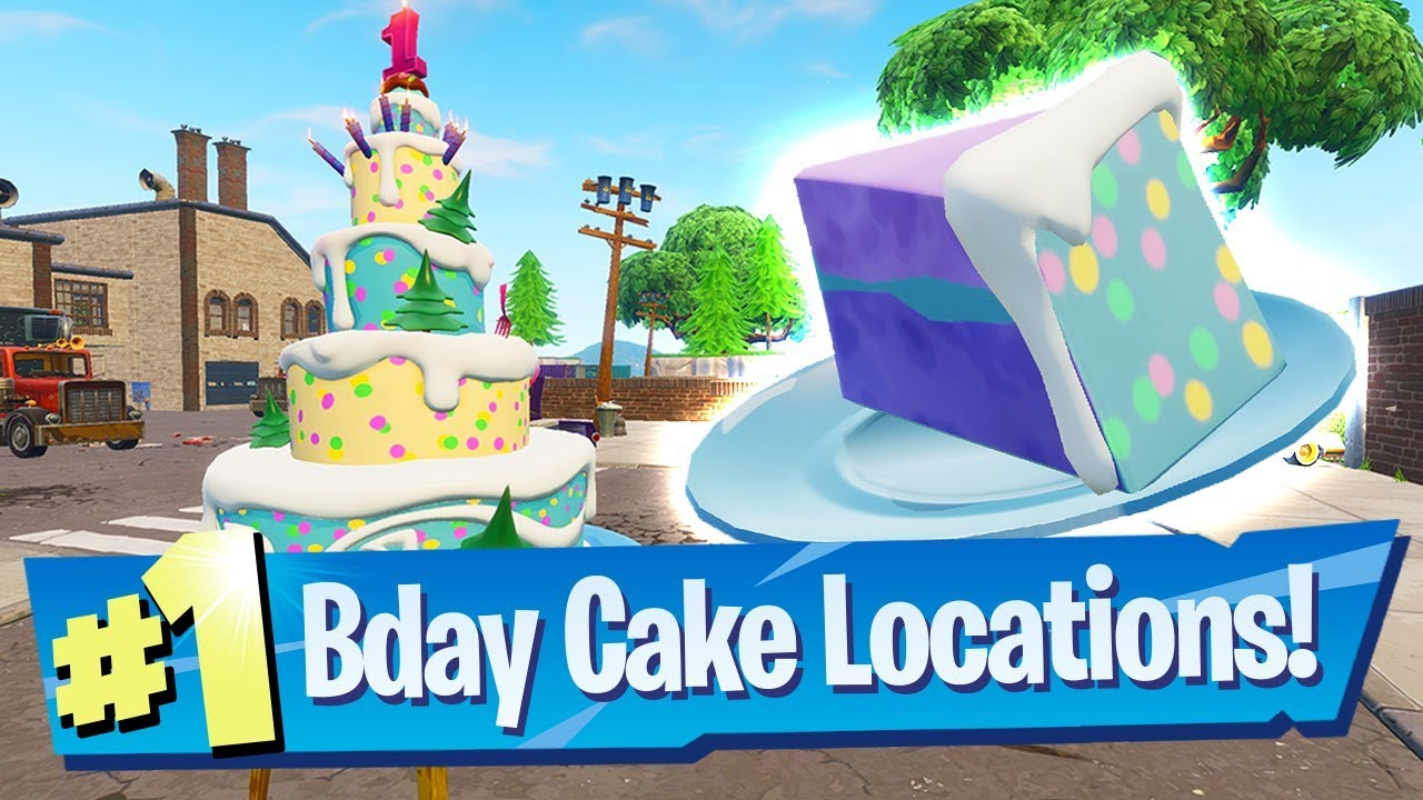 Fortnite All Birthday Cake Locations Dance In Front Of Different
