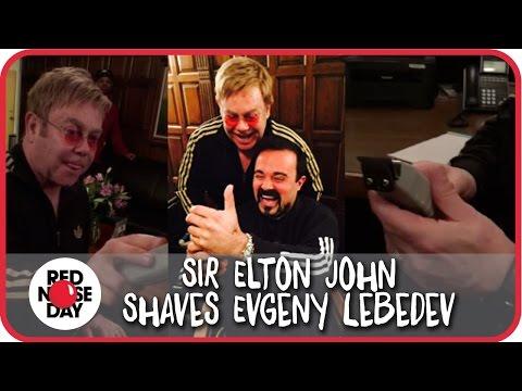 Sir Elton John Shaves Evgeny Lebedev (owner of Evening Standard & The Independent)