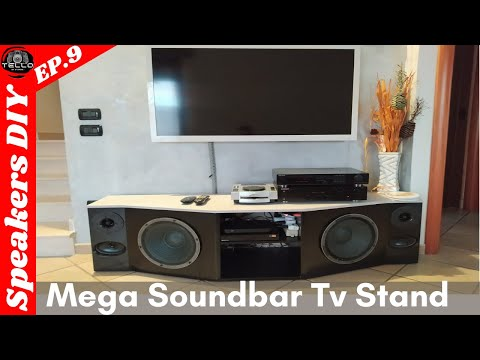 Diy SOUNDBAR - TV Stand  - mobile TV  fai da te  Free PDF download (wondom amplifier Bluetooth)