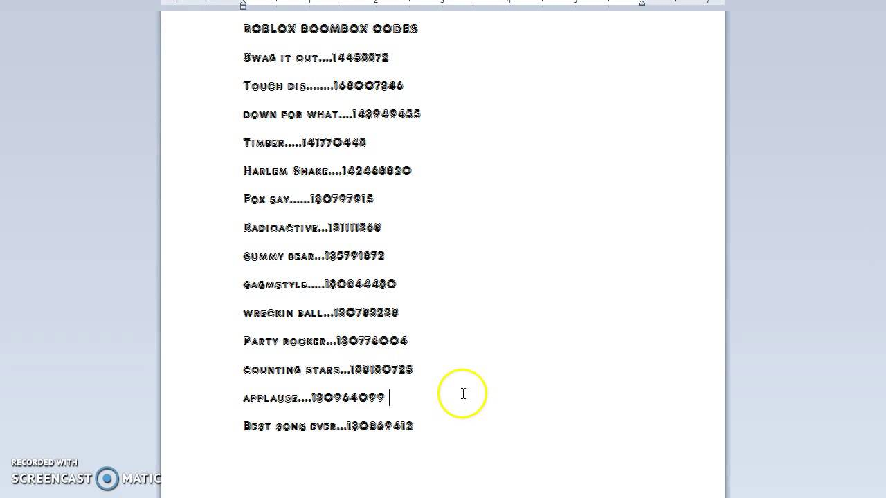 roblox boombox codes 2018