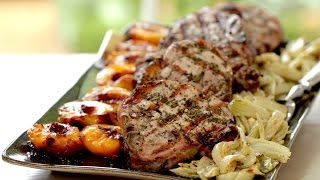 Beth's Rosemary Pork Chops With Grilled Nectarines And Roasted Fennel