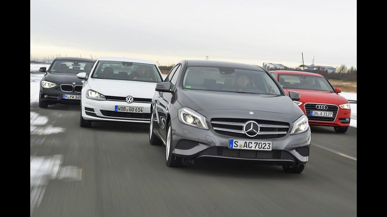 audi a3, mercedes a-klasse, vw golf, bmw 116d - kompakte deutsche