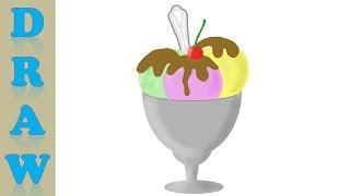 How to draw an Ice Cream Sundae