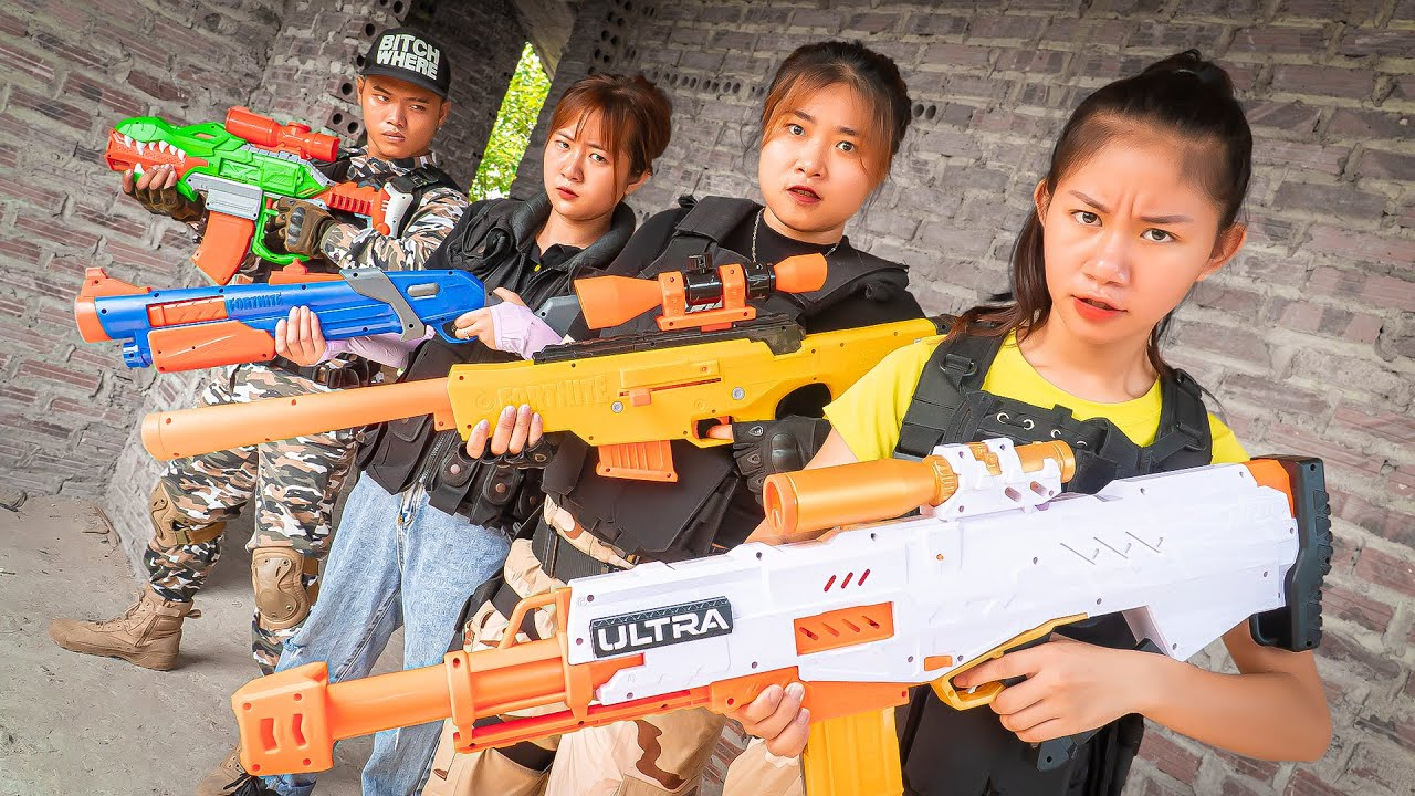 XGirl Nerf War squad CAPTAIN SWAT girl lost memory nerf & X Girl Nerf Guns return to yourself