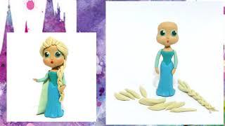 Как слепить принцессу Эльзу из пластилина? Уроки лепки: Принцессы Диснея. Мастер-класс для детей.