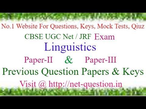 CBSE UGC NET Linguistics,Paper-II,Paper-III,Solved,Previous  Questions,Answer keys,Mock Test,Quiz