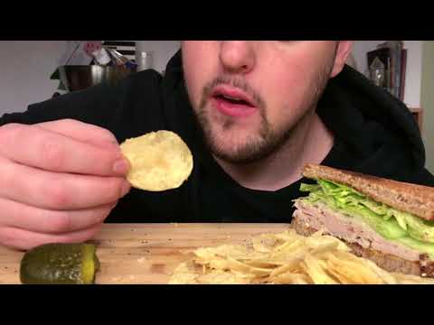 ASMR EATING BIG TURKEY SANDWICH N CHIPS