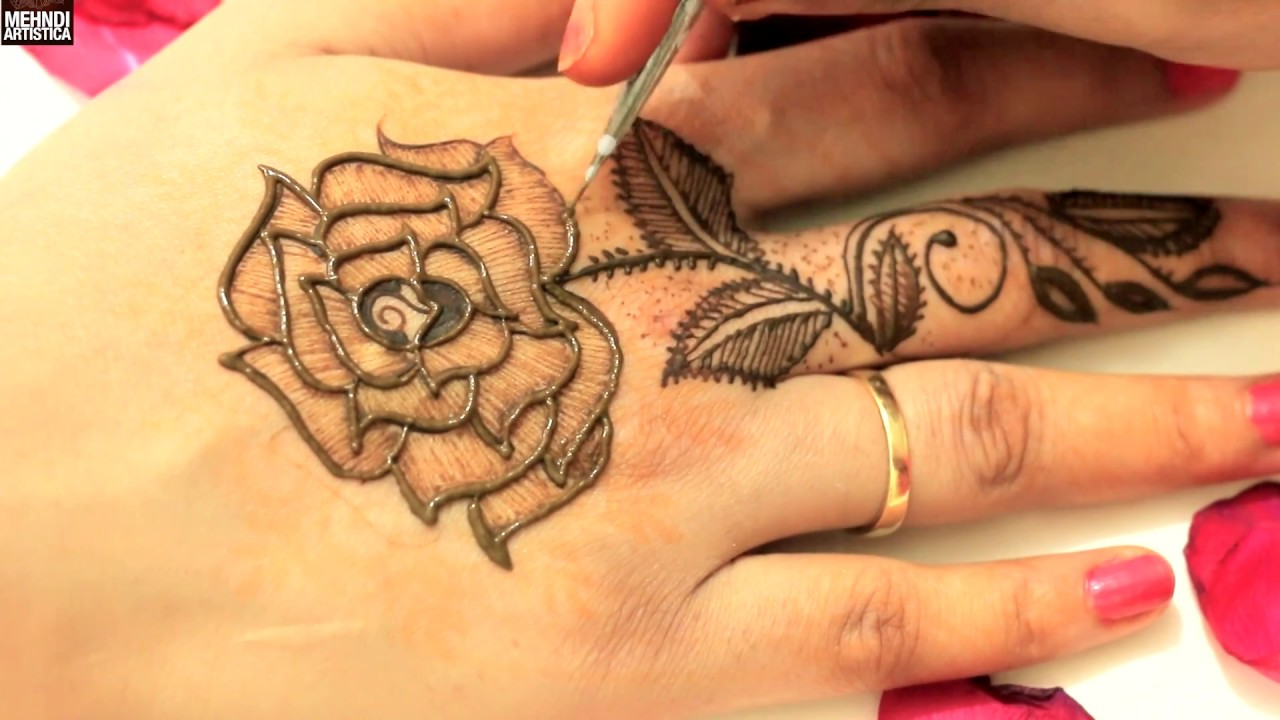 Mehndi design 2017 images - Original Leafy Roses Mehndi Designs For Upper Side Latest Easy Simple Mehendi Art Demo 2017
