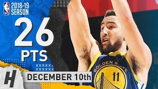 Klay Thompson Full Highlights Warriors vs Timberwolves 2018.12.10 - 26 Pts, 2 Rebounds!