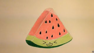 Kawaii Food - How to Draw Food - Watermelon - Popular Cartoon Drawing Video