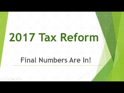 Final Numbers Are In - 2017 Tax Reform Bill