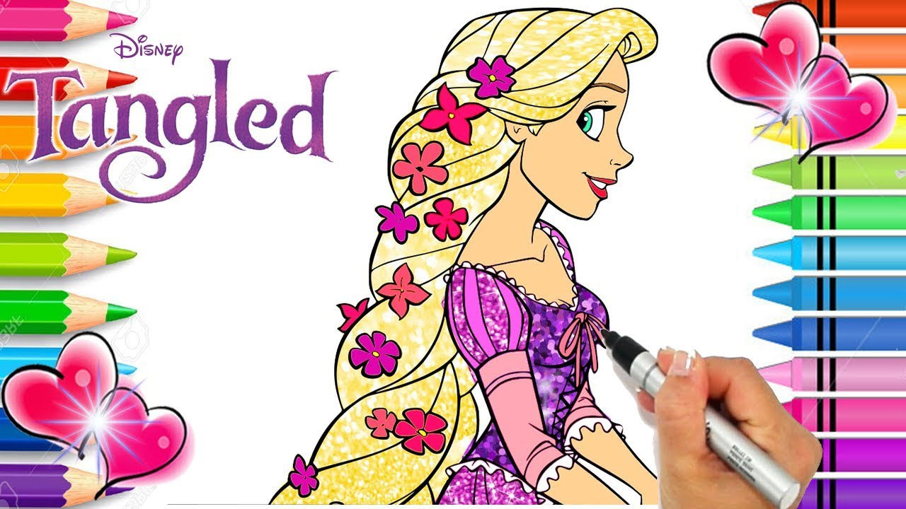 Rapunzel Coloring Page Tangled Coloring Book Glitter Art Disney Princess Coloring Page Youtube