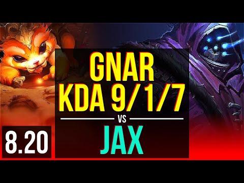 GNAR vs JAX (TOP) | KDA 9/1/7, 500+ games, Legendary | Korea Diamond | v8.20