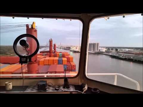 Piloting a container ship down the Savannah River